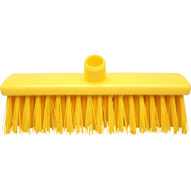 Qleaniq® Broom, extra hard, yellow 1