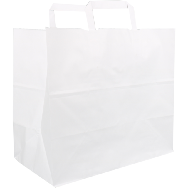 Bag, Kraft, flat paper handles, 32x17x25cm, snack carrier bag , white 1