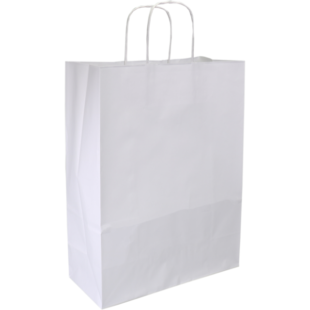 Bag, Gestreept wit kraft, twisted-paper cord, 26x12x35cm, carrier bag, white 1