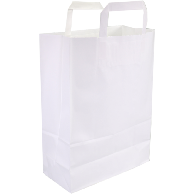 Bag, Wit kraft, flat paper handles, 26x12x35cm, carrier bag, white 1