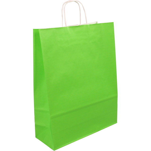 Bag, Gestreept wit kraft, twisted-paper cord, 32x12x41cm, carrier bag, lime 1