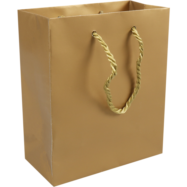 Bag, Art paper, deluxe bag with cord, 16x8x19cm, carrier bag, gold 1
