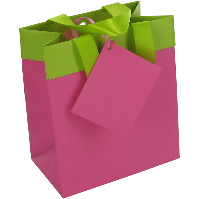 Bag, Art paper, deluxe carrier bag with ribbon, 12.5x7.5x13.5cm, carrier bag, fuchsia/Green 1