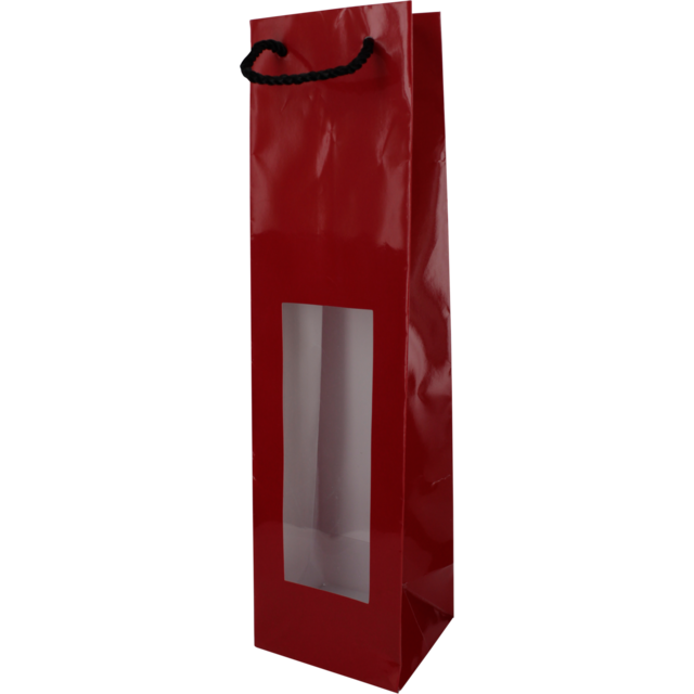 Bag, , Art paper, deluxe wine bottle bag with cord and window, 9,8x9x38cm, bodemvouw 9cm, wine bottle, red 1