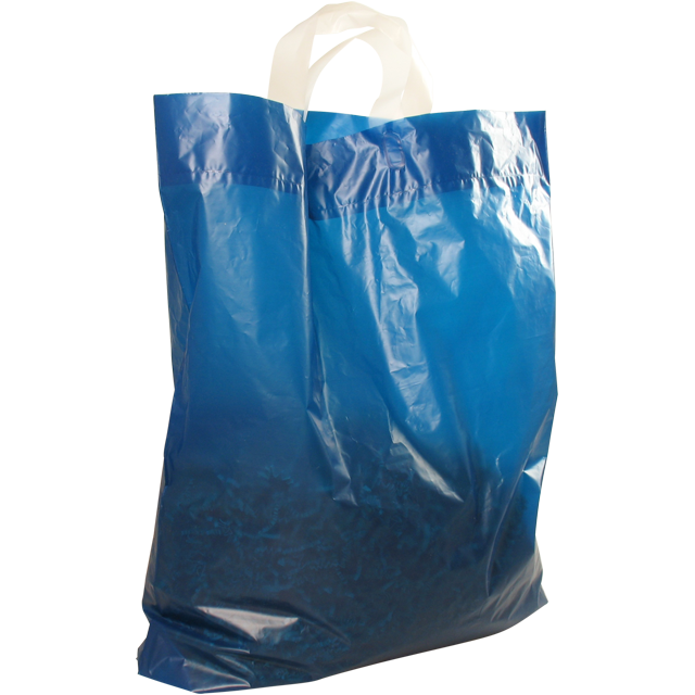 Bag, LDPE, dKT, 47x50cm, bodemvouw 5cm, loop handled carrier bag, blue 1