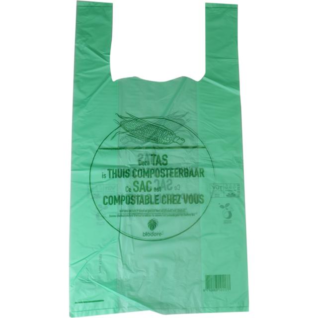 biodore bag compostable corn 27x7x50cm t shirt bag transparent green 290055 biodore. Black Bedroom Furniture Sets. Home Design Ideas