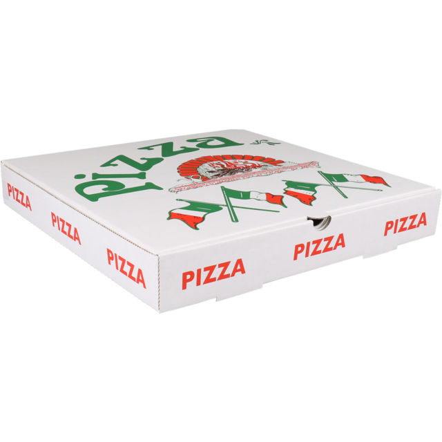 Pizza box, Corrugated cardboard, 33x33x4.5cm, Americano, white 1