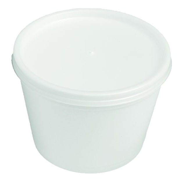 Depa, Sauce cup + lid, EPS, 340ml, 12oz, 74mm,  white 1