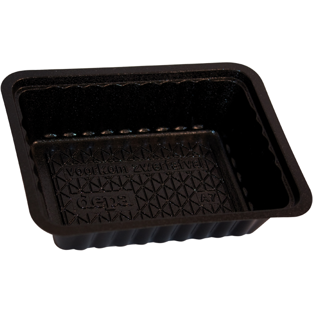 Container, PS, A7, french fries container, 121x93x31mm, black 1