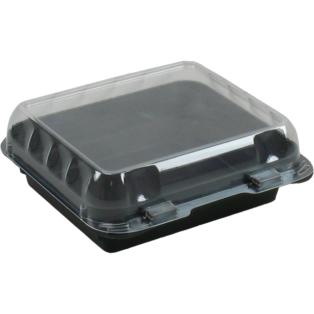 Container, PS, salad container, 160x150x55mm, black 1