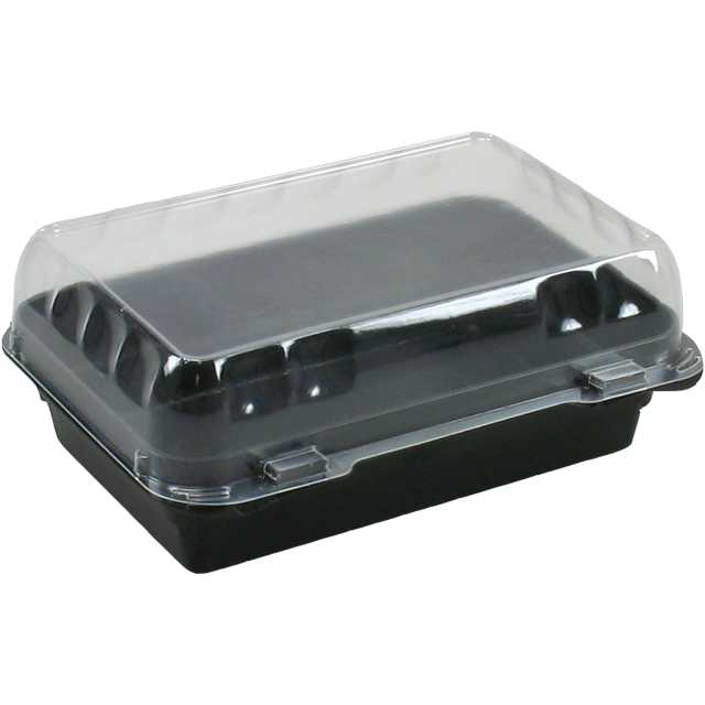 Container, PS, salad container, 200x145x75mm, black 1