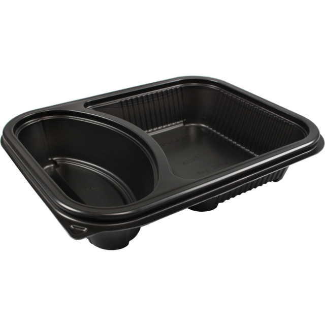 Container, PP, 2 compartments , menu container, 227x177x50mm, black 1