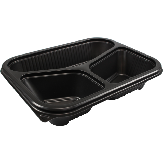 Container, PP, 3 compartments , salad container, 227x177x53mm, black 1