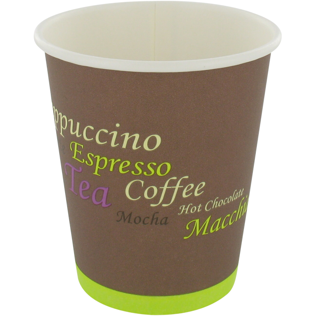 Coffee cup, Cardboard and coating, 250ml, 8oz, brown 1