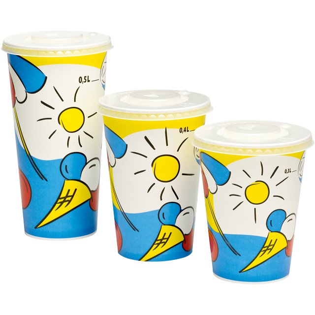 Depa, Cold cup, Sunny, Cardboard and coating, 500ml, 20oz, 168mm,  white/Blue 1