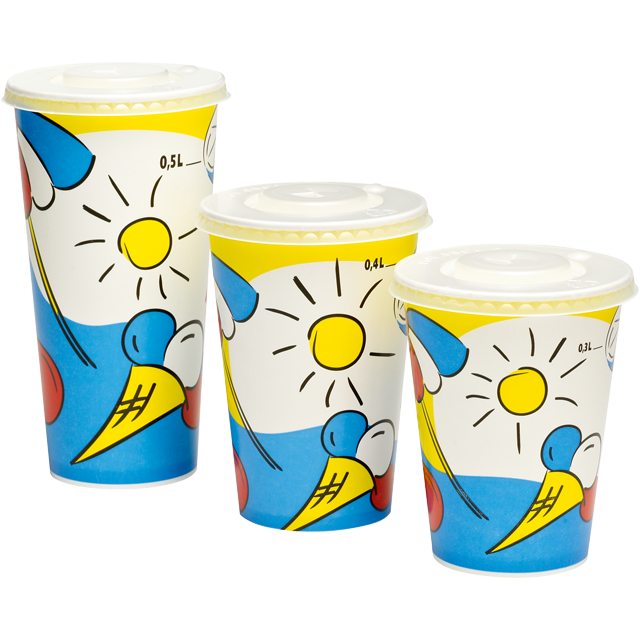 Depa, Cold cup, Sunny, Cardboard and coating, 400ml, 16oz, 128mm,  white/Blue 1