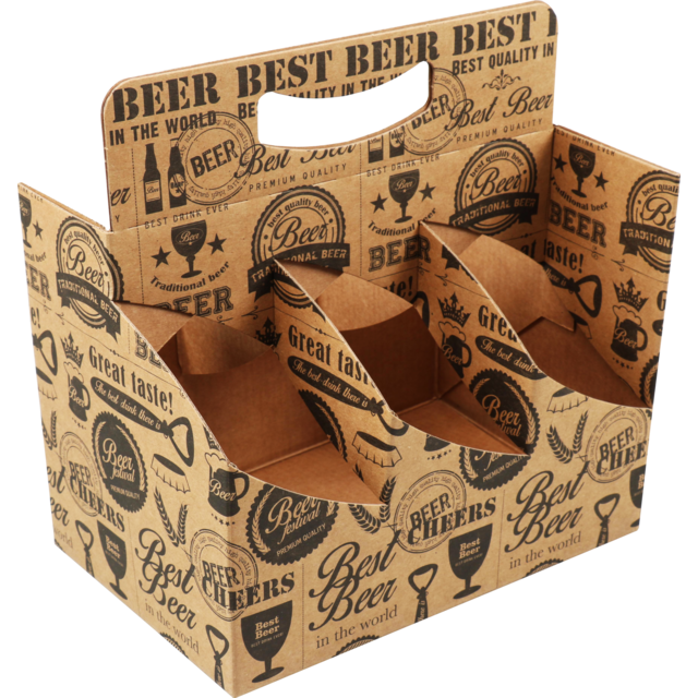 Cup carrier, Cardboard, beer, 6 compartments , 225x140x164mm, brown 1