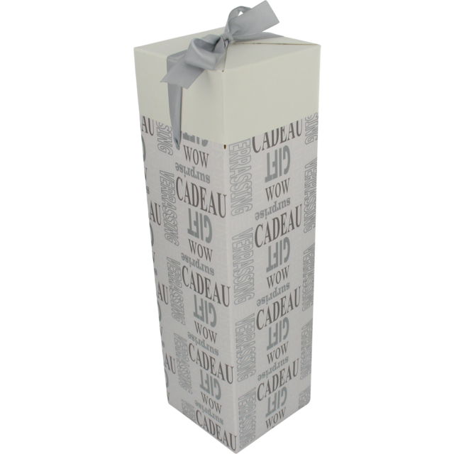 Bottle box, Paper, 1 bottle , 9.5x9.5x33cm, Text, white 1