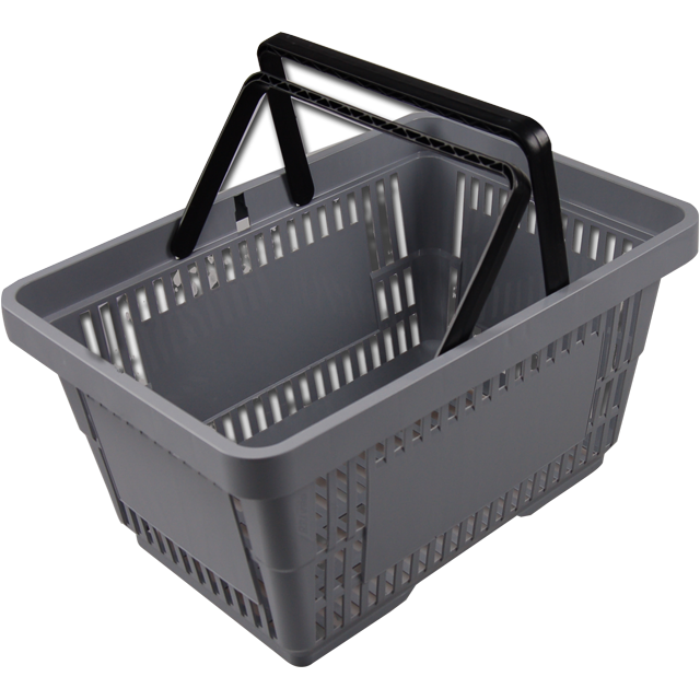 Shopping basket, plastic, grey. 1