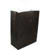 Bag, Gestreept wit kraft, twisted-paper cord, 26x12x35cm, carrier bag, black