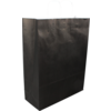 Bag, Gestreept wit kraft, twisted-paper cord, 32x12x41cm, carrier bag, black
