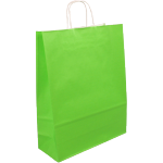 Bag, Gestreept wit kraft, twisted-paper cord, 26x12x35cm, carrier bag, lime
