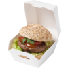 Hamburger box, Cardboard, 90x90x50mm, Mini´s, wit