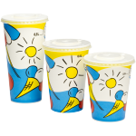 Depa, Cold cup, Sunny, Cardboard and coating, 500ml, 20oz, 168mm,  white/Blue