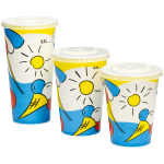 Depa, Cold cup-beker, Sunny, Karton en coating, 400ml, 16oz, 128mm,  wit/Blauw