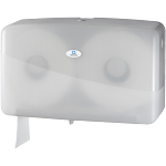 Qleaniq®, Toiletpapierdispenser, Kunststof, design luxury, duo jumbo, wit