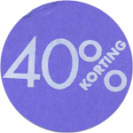 Label, Sale/Reduced label, Paper, 40% discount, ∅30, purple
