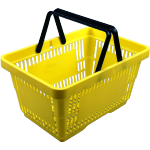 Shopping basket, plastic, yellow.