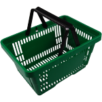 Shopping basket, plastic, green.