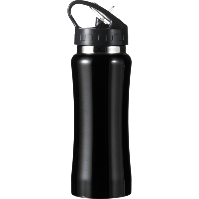 Water bottle, Stainless steel, Ø7cm, 600cc, 210gr, 22,7cm, black. 1