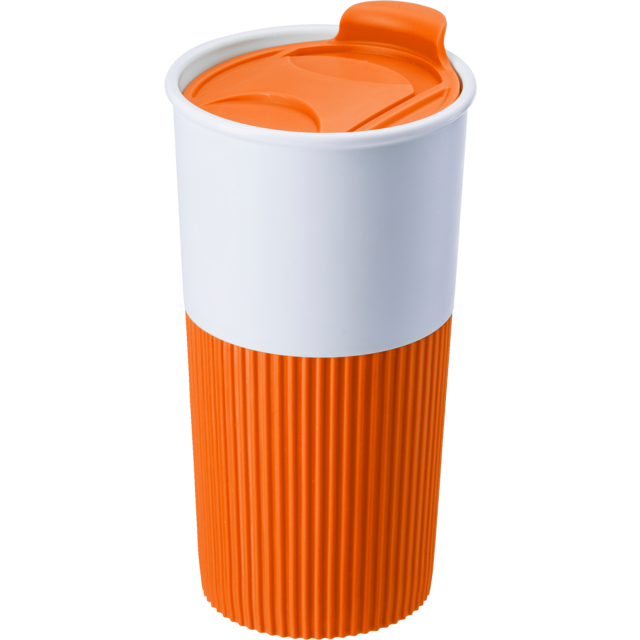 Drinking cup, Rubber, 500cc, 152gr, Ø8,7cm, orange  1