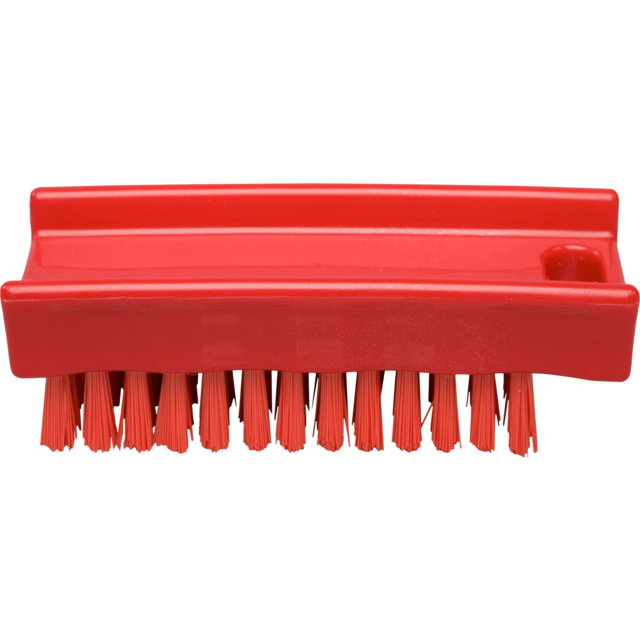 Qleaniq® nagelborstel, hard, 110x45mm, red 1
