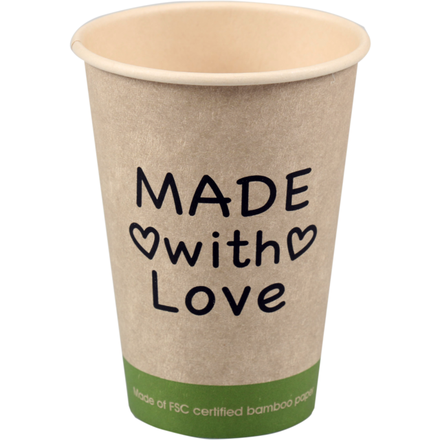 Fonkelnieuw Coffee cup, Made with Love, Bamboe/PE, 180ml, 7,5oz, 93mm, beige RZ-37