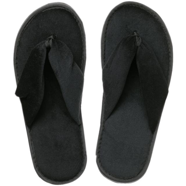 Schwarz Frottee Zehenfrei Pantoffeln