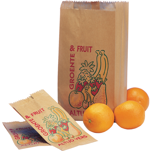 Fruit & vegetable bag, Paper, 14/8x25.5cm, Always fresh, brown 1