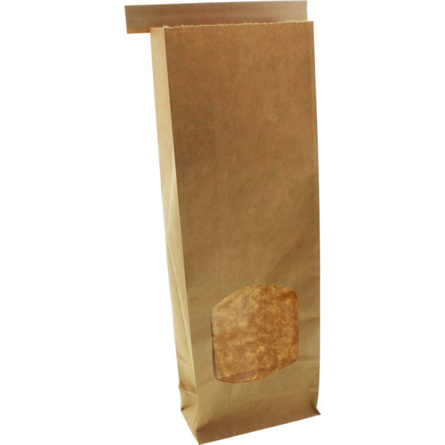 Block bottom bag, Kraft, 47x260x88mm, brown 1