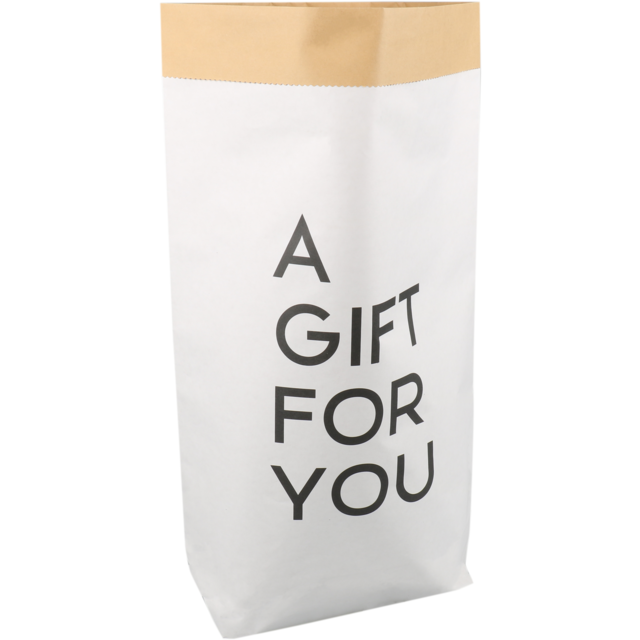 LOVLY® Sack, Cadeauzak, Papier, 40/ 14x58.5cm, A gift for you, weiß 1