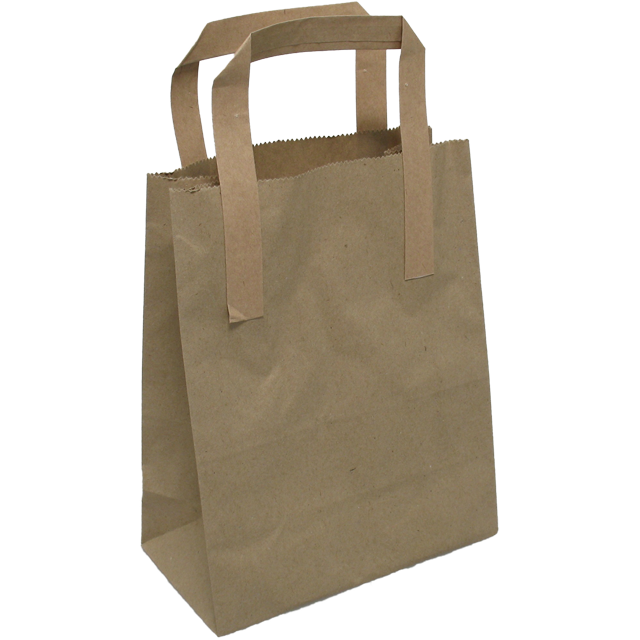 Bag, Pulp, Flat paper handles, glued to outside, 17.5x 9.5x21cm, carrier bag, brown  1