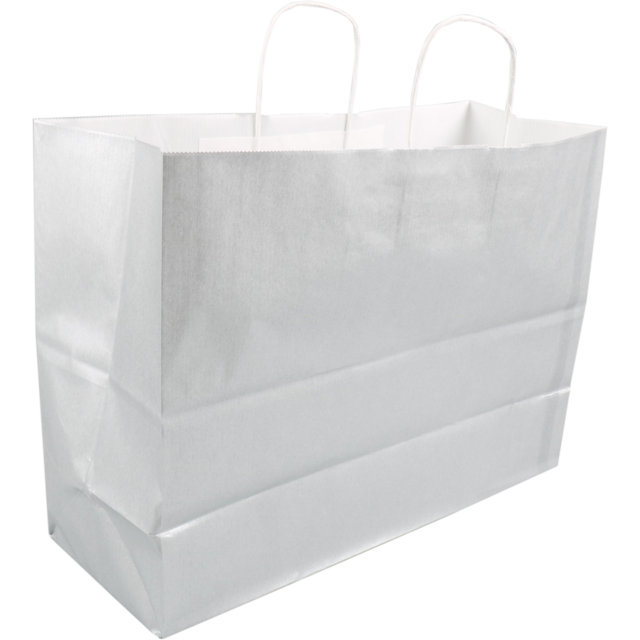Bag, Kraft paper, twisted-paper cord, 45x17x33cm, paper carrier bag, silver 1