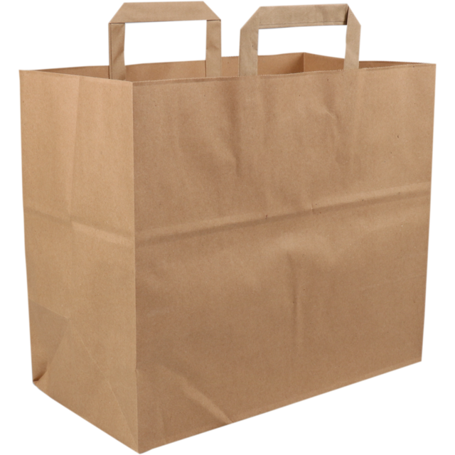 Bag, Kraft, flat paper handles, 32x17x26cm, snack carrier bag , brown 1