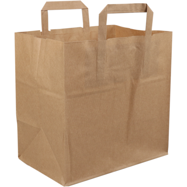 Bag, Pulp, flat paper handles, 26x17x26cm, snack carrier bag , brown 1