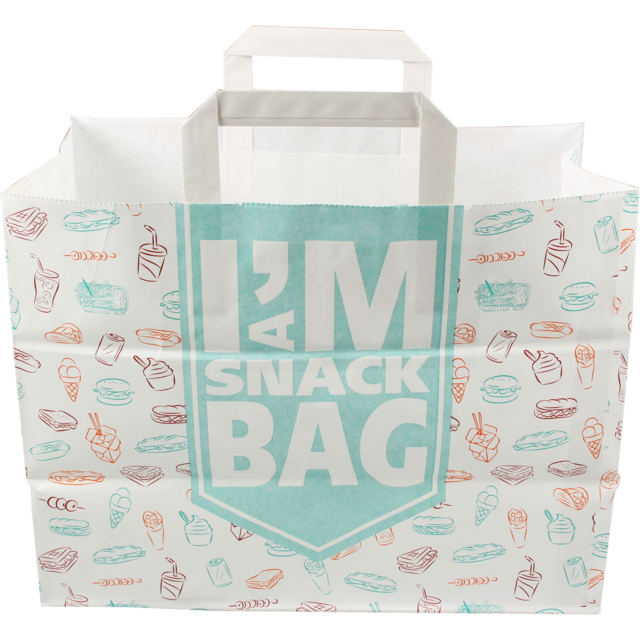 I'M a Concept Bag, I'M a SNACK, Kraft, flat paper handles, 32x17x25cm, snack carrier bag , white 1