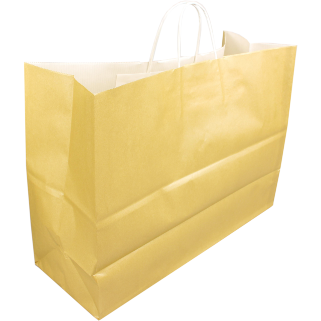 Bag, Kraft paper, twisted-paper cord, 45x17x33cm, paper carrier bag, gold 1