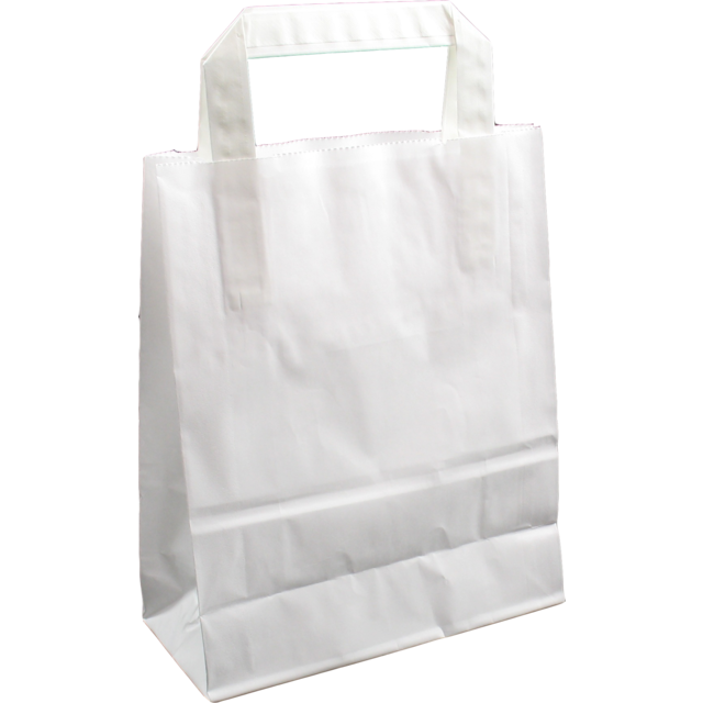 Bag, Wit kraft, flat paper handles, 18x8x22cm, carrier bag, white 1