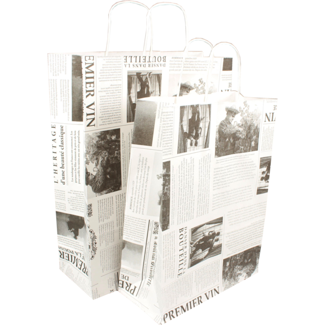 Bag, Le journal, Wit kraft, twisted-paper cord, 26x12x35cm, carrier bag, white 1