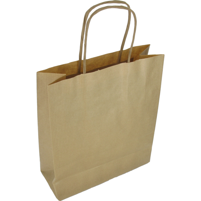 Bag, Gestreept kraftpapier, twisted-paper cord, 18x8x22cm, carrier bag, brown 1